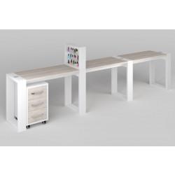 """Трёхместный маникюрный стол с подставкой для лаков и тумбой """"Matrix"""""""